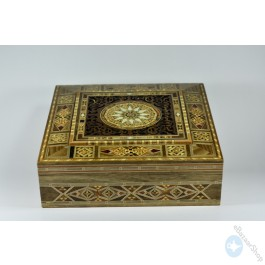 Carved Wooden Mosaic box for jewelry - square