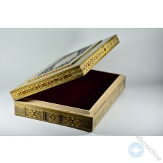 Carved Wooden Mosaic Inlaid Box - rectangle