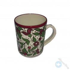 Ceramic mug for tea or coffee - Green and Red