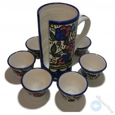 Set of black coffee cups with holder