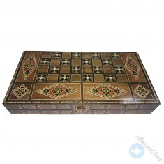 Chess and backgammon set - wooden mosaic