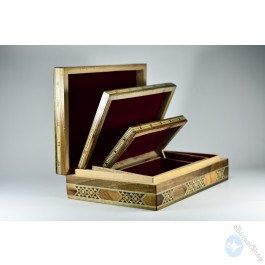 Set of Wooden Mosaic Inlaid Boxs - 3 pieces