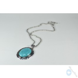 Turquoise oval pendant necklace