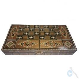 Chess and backgammon set - wooden mosaic