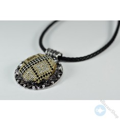 Hand Embroidery necklace - Brown