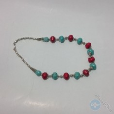 Turquoise inlaid necklace by colorful bead