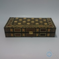 Syrian mosaic wooden set of chess and backgammon