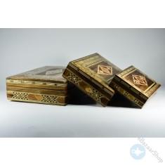 مجموعة صناديق خشبية من الموزاييك - ثلاثة قطع