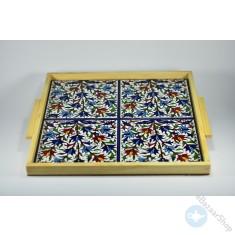 صينية خزفيه لتقديم الشاي أو القهوه - يدوية الصنع