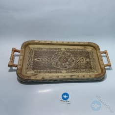 صينية تقديم خشب من الموزاييك - مستطيلة الشكل مع ايدي خشب