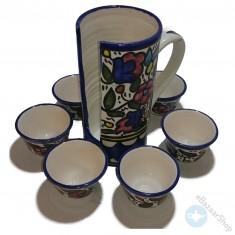 طقم فناجين قهوه ساده مع حمّاله من الخزف الخليلي.