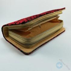 محفظة مطرزة نسائية - أسود وأحمر